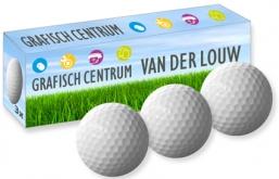 bedrukt golfbaldoosje voor 3 golfballen