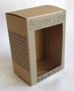 bedrukte doosje van kraft karton op maat met venster voor geurzeep