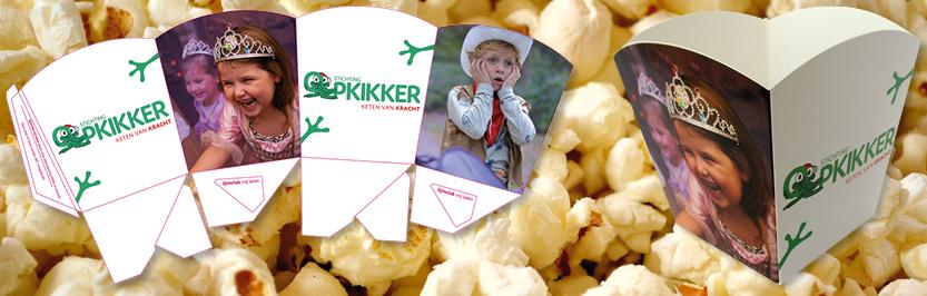 popcornbakje, popcorndoosje, popcornzakje, popcorn doosje