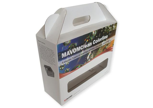 Doos met handvat en venster, voor 5 flessen flacons van golfkarton bedrukt in full color. Fefco 0217.