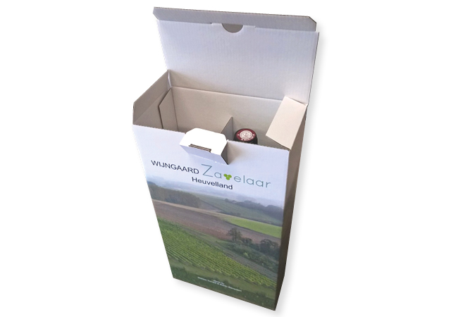 Bedrukte Doos van golfkarton voor 2 flessen wijnflessen in full color