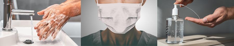 desinfecterende handgel, desinfecterende doekjes, handpomp desinfecterende gel, desinfecterende schoonmaakproducten, mondkapjes